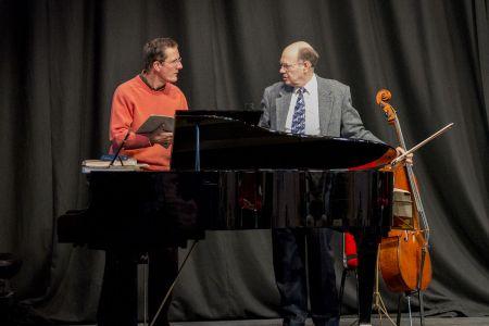 Whilst Alan Brown took up the cello for the 2nd movement of 'Requiem', Adrian Payne joined him from the choir on piano